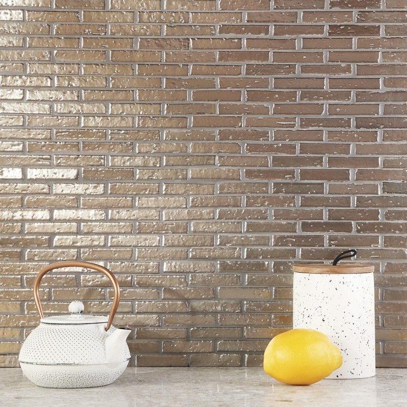 Bohemian Brick Metallic Antique Brass 1 2x3 Mosaic Tile Ceramic