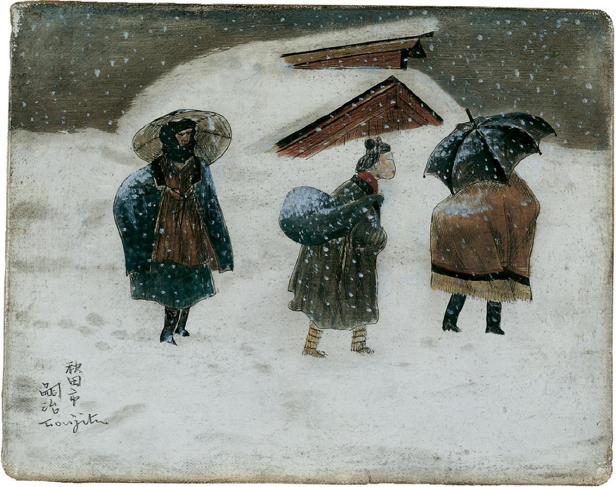 Léonard Tsuguharu Foujita, Paysage de neige, à Akita, 1937, Auktion 867 Moderne Kunst, Lot 990 ...