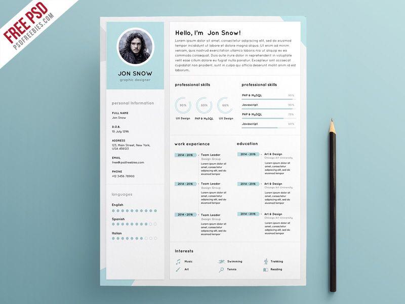 Clean Resume CV Template PSD Template Pinterest Cv template - resume download free