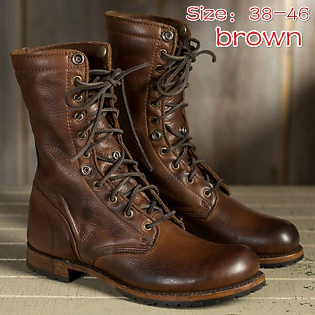 Men's Shoes Imported From Abroad Shoes Men Winter Boots Leather For Mens Dr Mart British Style Old Stylish Lace Up Casual Classic Outdoor Snow Boots Black Motorcycle Boots