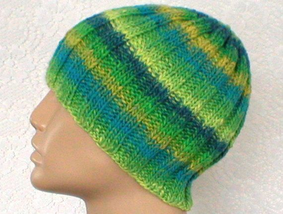 4e96a7251 Blue green yellow beanie hat striped hat mens womens knit hat toque ...