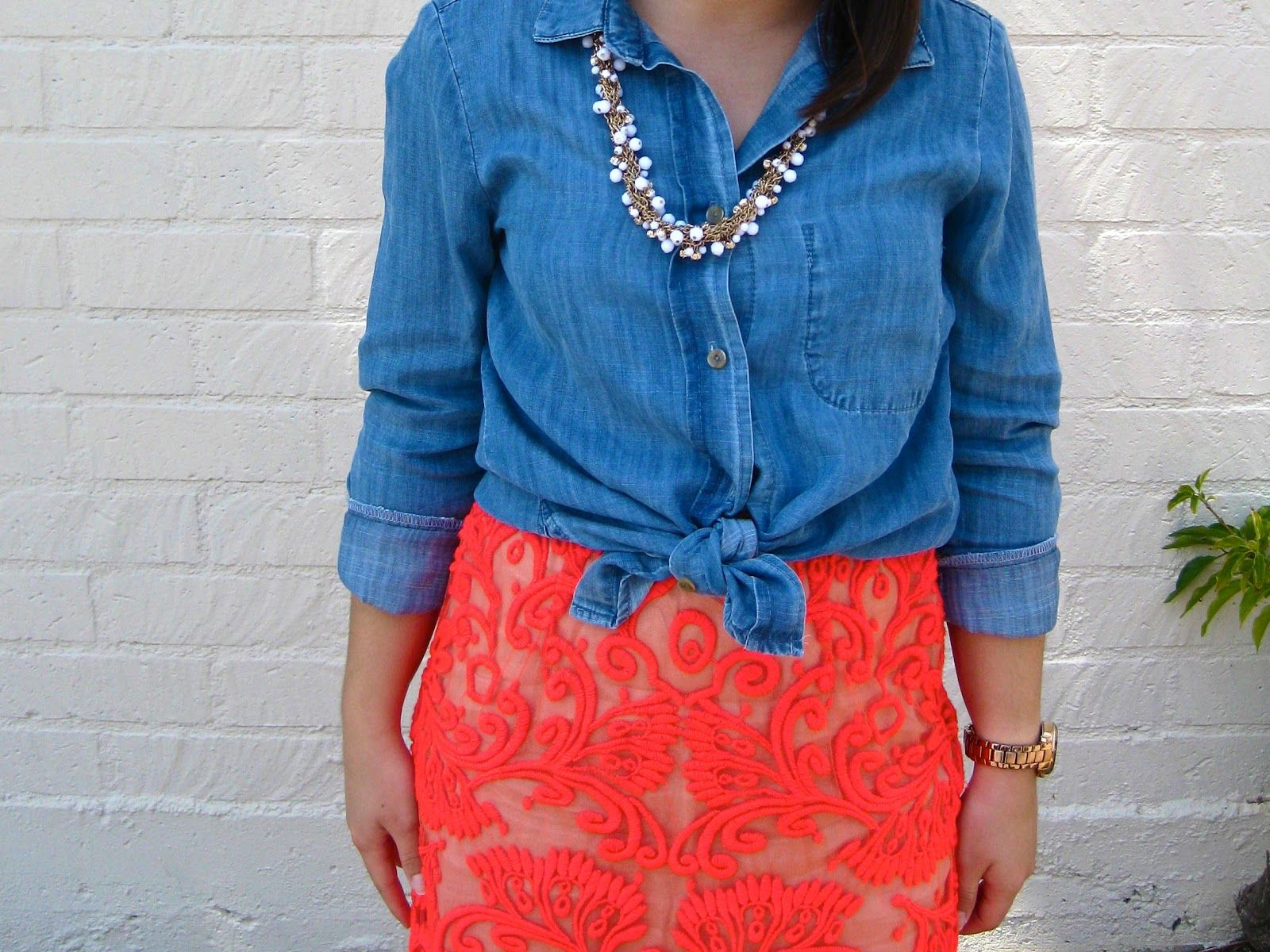 neon lace skirt and chambray #summer #style
