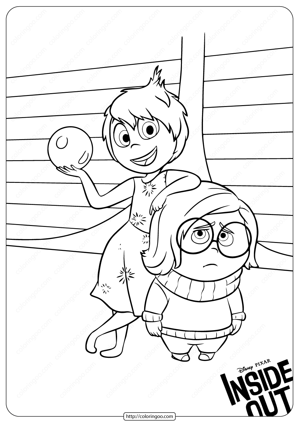 Joy And Sadness Coloring Pages Inside Out Coloring Pages Disney Coloring Pages Coloring Pages