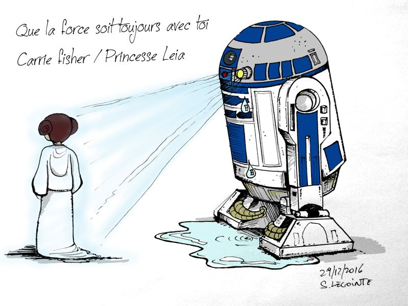 hommage carrie fisher princesse Leia star warMon Dessin Hommage à la princesse LEIA : R2D2 pleurant la perte de la princesse LEIA