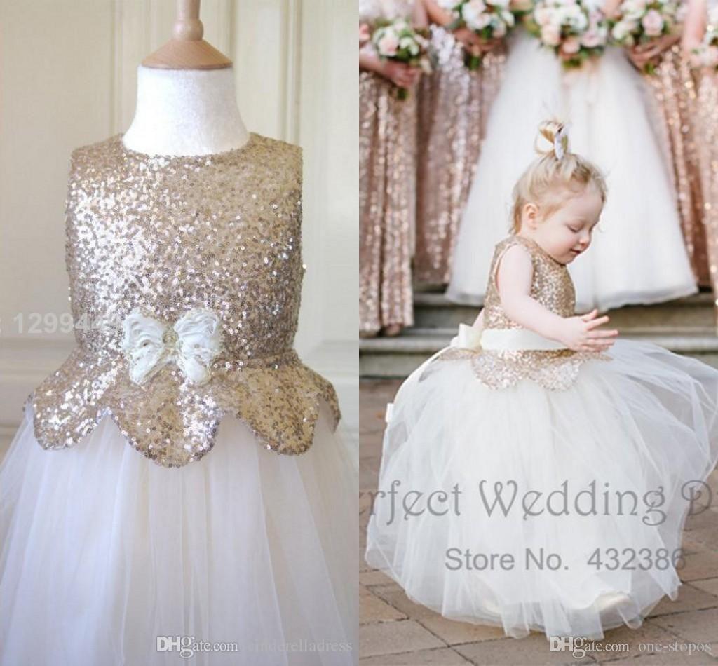 753fa9d6a3 Cute Metallic Flower Girl Dresses 2016 New Kids Rose Gold Sequin ...