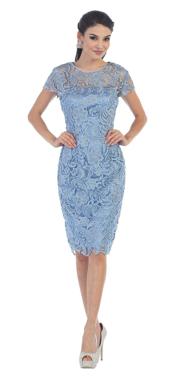Short Lace Mother of Bride Dress 2018 | Bride dresses, Lace fabric ...