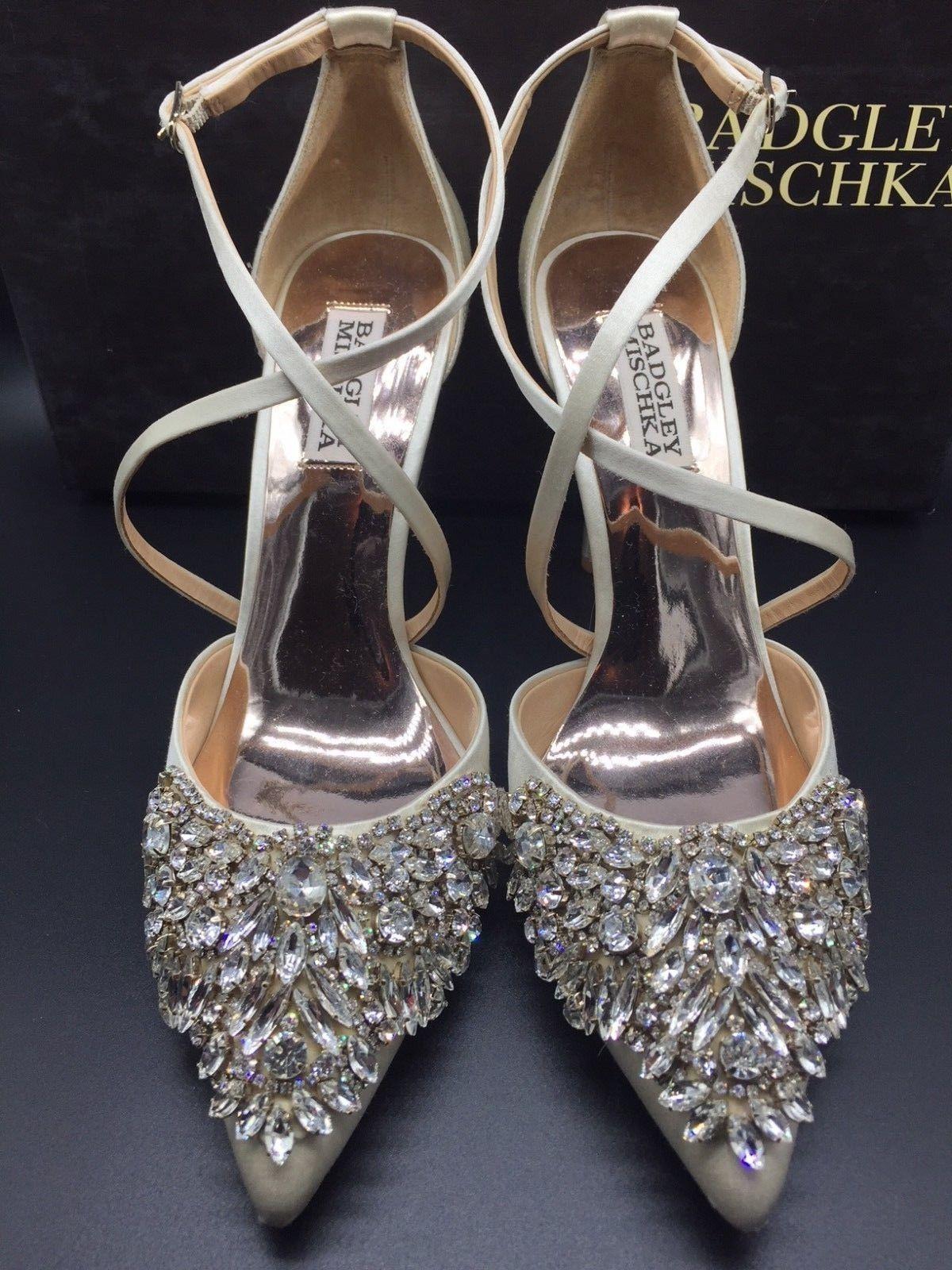 f33941af36 NIB Badgley Mischka Harlene Size 7.5 Ivory Satin Crystal Embellished Pumps  $245 | eBay
