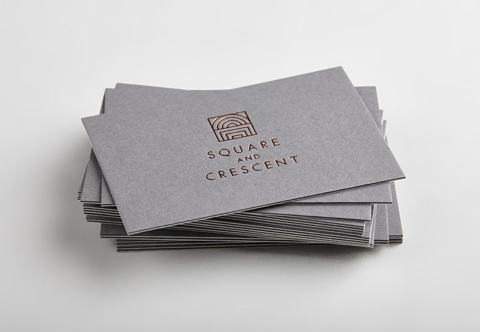 business card with copper foil detail by touch for square and