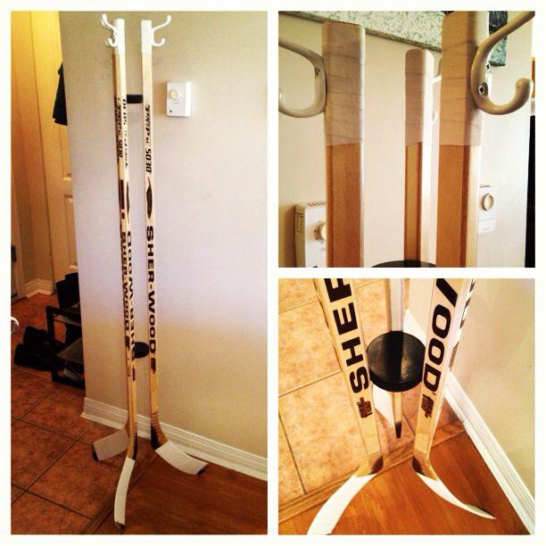 Hockey Stick Coat Racks: Hockey Room, Hockey Decor, Boys