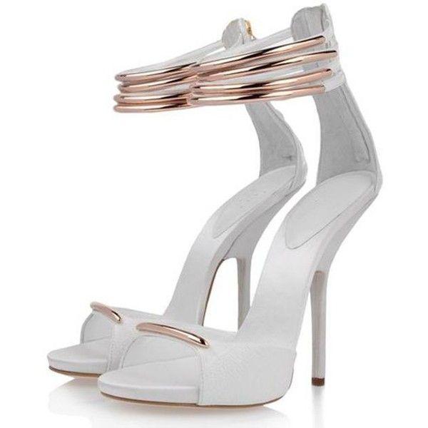 Posh Girl White And Gold Kitten Heels Sandals 1 716 660 Idr Liked On Polyvore Kitten Heel Sandals White High Heel Shoes Gold Kitten Heels
