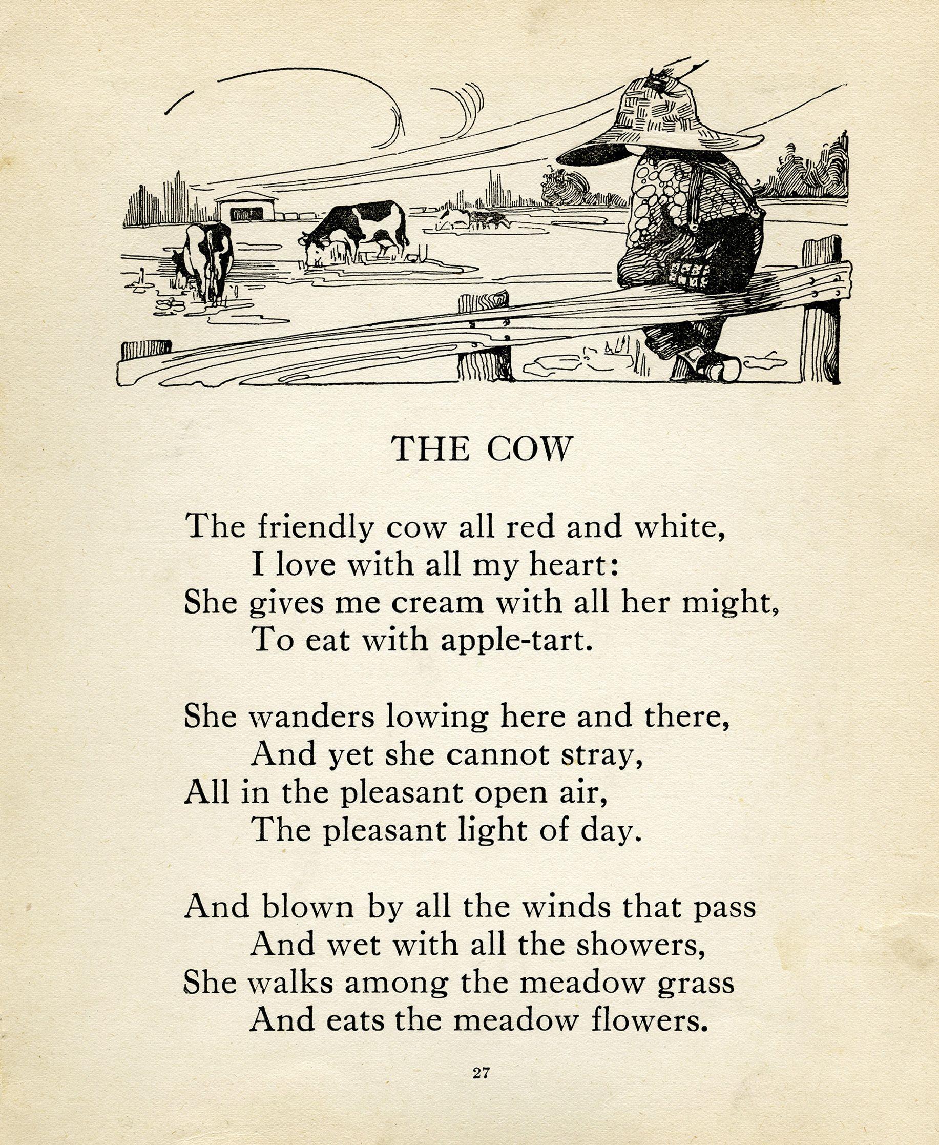 Uncategorized Cow Poems robert louis stevenson cow poem vintage clip art farm boy image