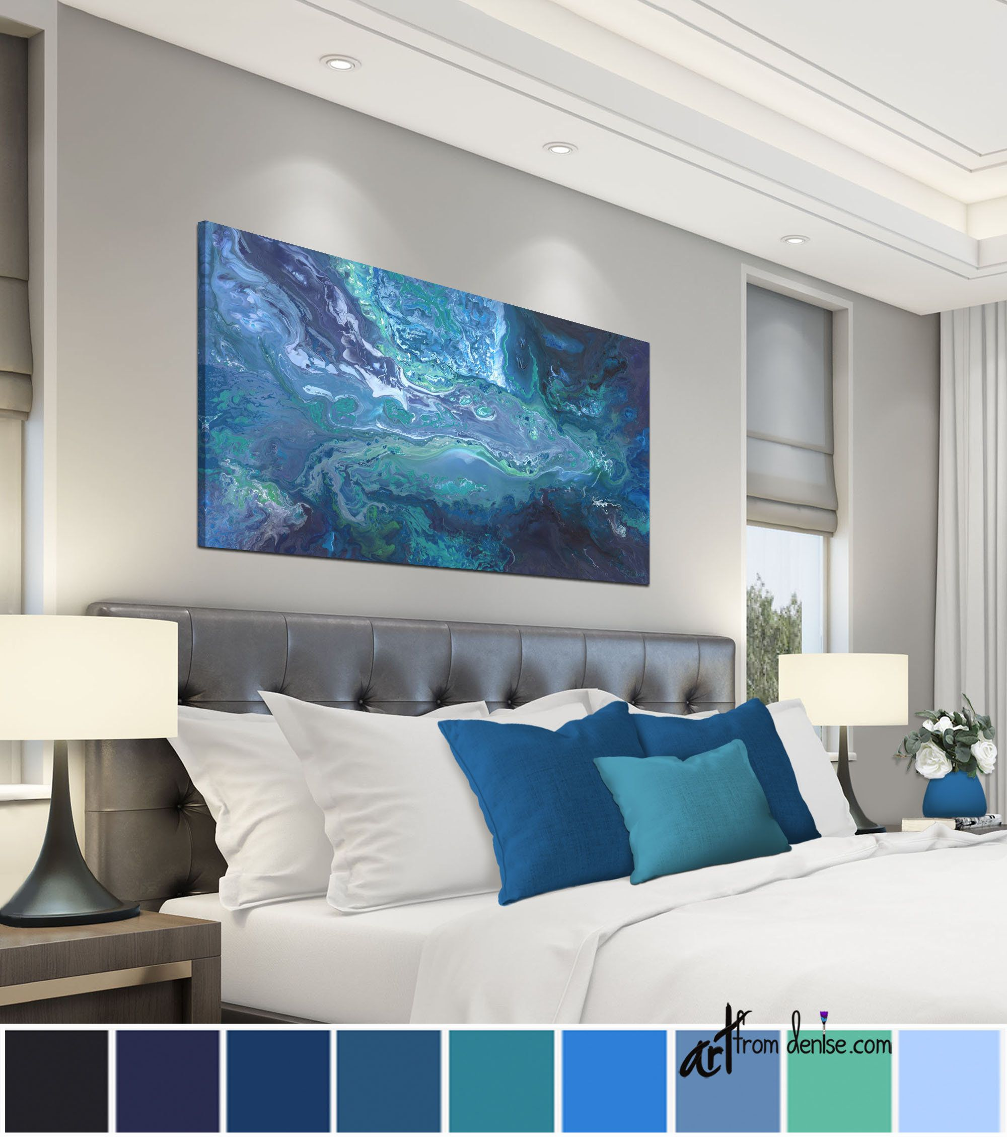 Navy Blue Gray And Teal Wall Art Large Wall Art Canvas Horizontal Bedroom Wall Decor Above Bed Art For Living Room Or Dining Pictures In 2020 Teal Wall Art Blue Abstract #teal #wall #art #for #living #room