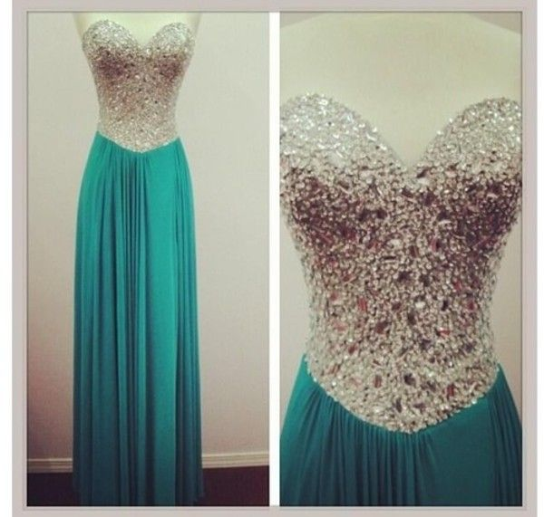 Get this dress on @Emilio Foster or see more #dress #homecoming #sequin #silver #blue #turquiose #pretty #long_dress #prom #mine #find #strapless_dress