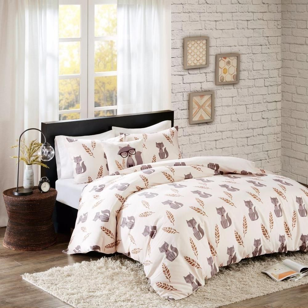 Adorable Cream Ivory Hip Woodland Fox Feathers 4 Pc Cotton Duvet Cover Set F
