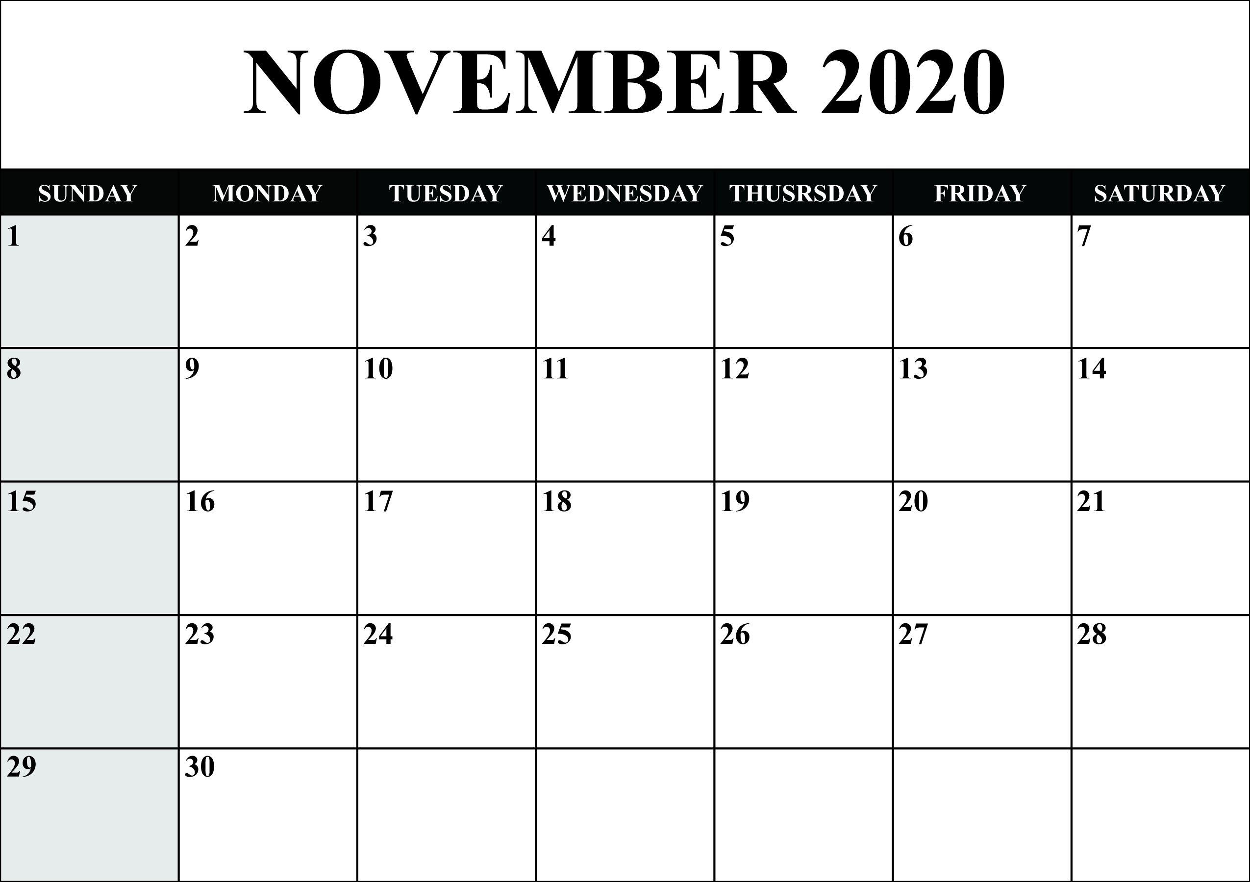 Incredible Ms Word Free Download Calendar 2020 In 2020 November Calendar Calendar Template Monthly Calendar Printable