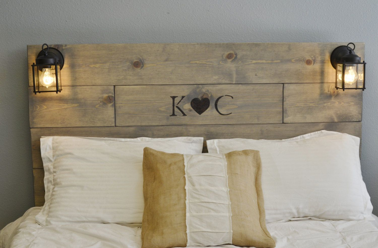 cheap for discount a370a a0546 Rustic Wood Headboard with Custom Wood Engraved Initials and ...