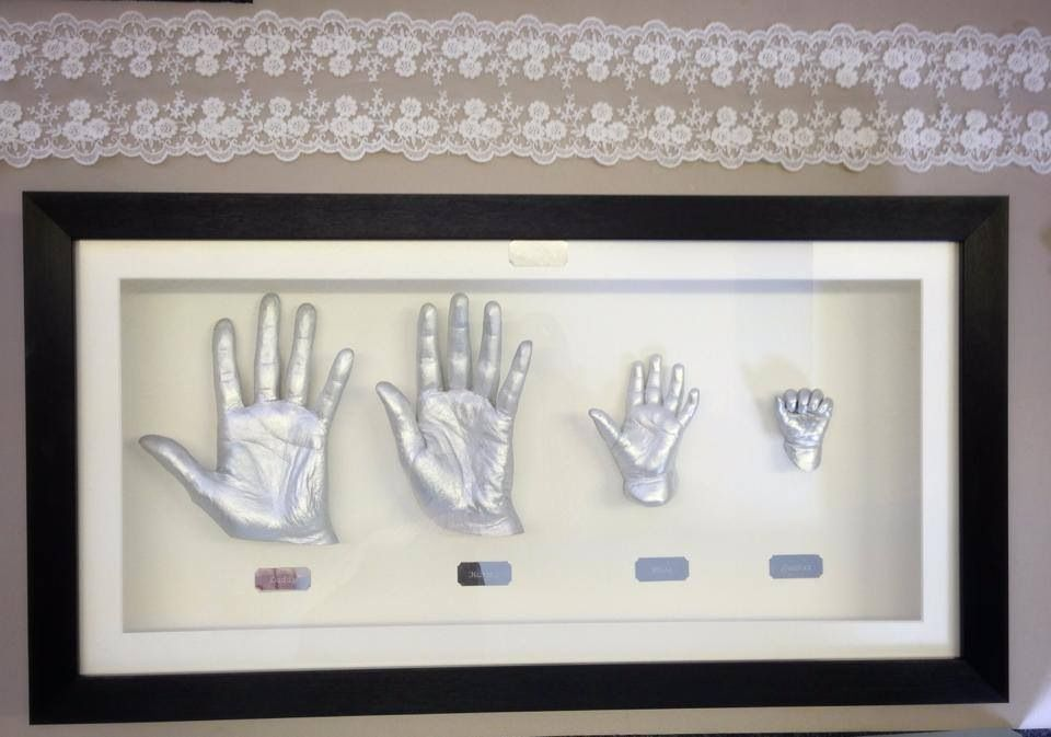 New 3D Baby Casting Kit Hand Foot Bronze Cast Photo Picture Display Frame Pewter