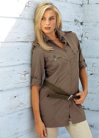 Женская рубашка-туника | Сафари платье, Модные стили, Мода ...