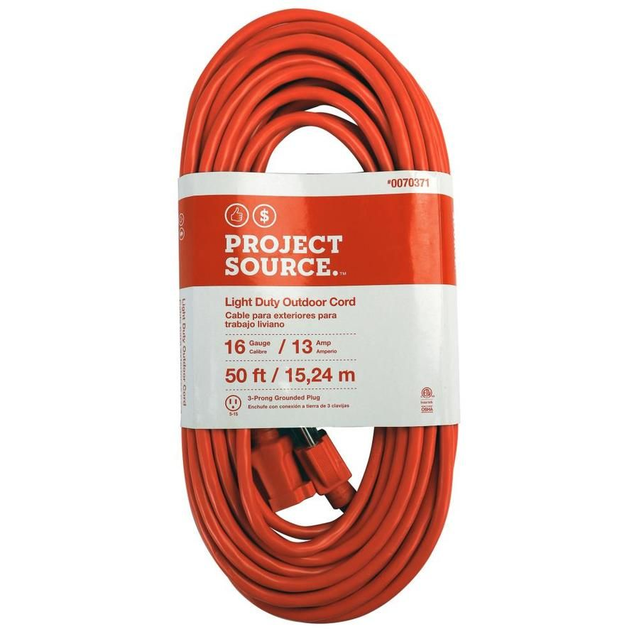 Project Source 50 Ft 16 3 3 Prong Outdoor Sjtw Light Duty General