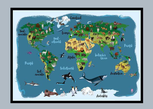 Drucke & Plakate - Illustration, Weltkarte - Tiere rund um die Welt - ein Designerstück von styps bei DaWanda