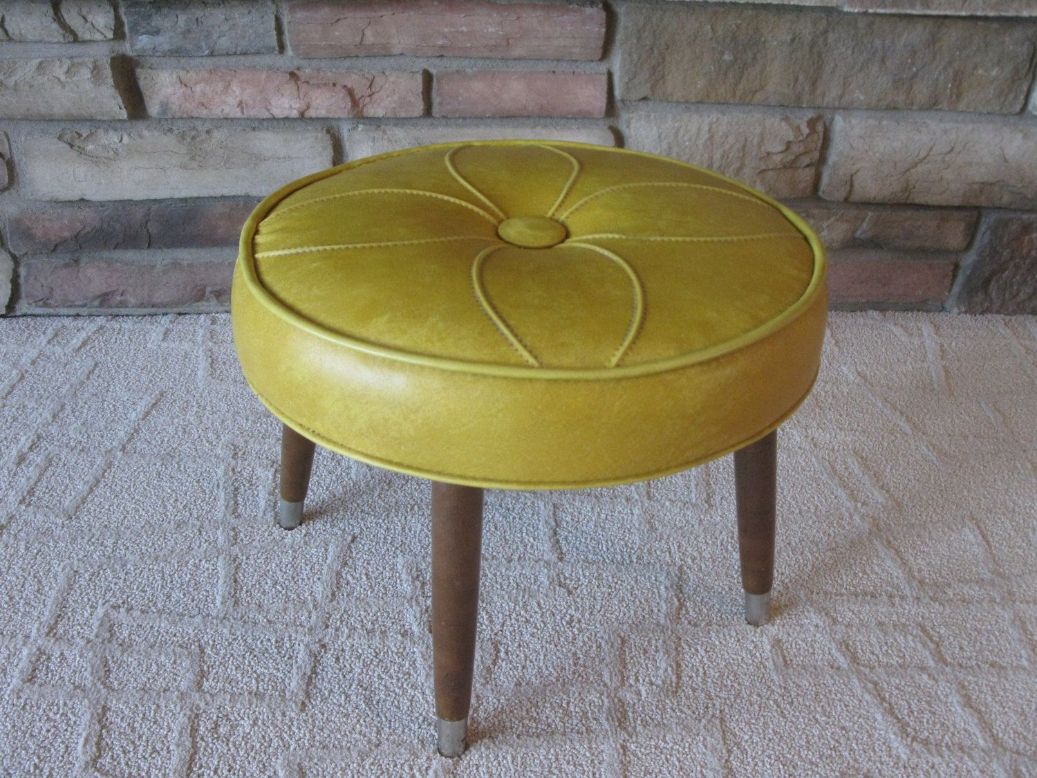 Retro Footstool Round Harvest Gold Vinyl Geometric Flower Pattern Hassock Ottoman Wood Legs Brass Feet Padded Stool Padded Stool Gold Vinyl Footstool