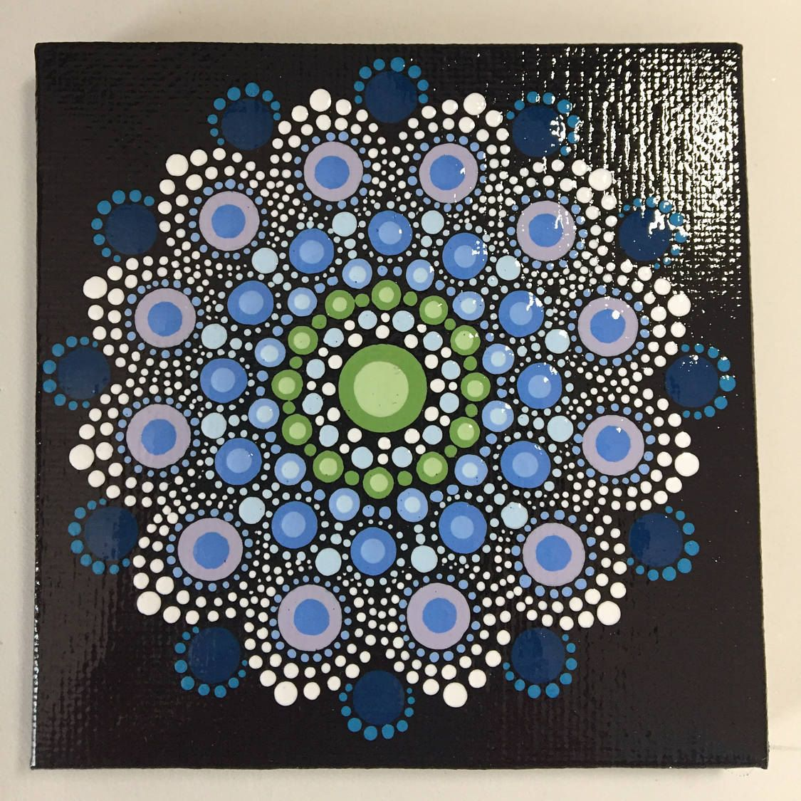 Hand Painted Mandala on Canvas, Meditation Mandala, Dot Art