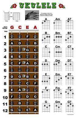 Ukulele Fretboard and Chord Chart Instructional Poster Uke by ...