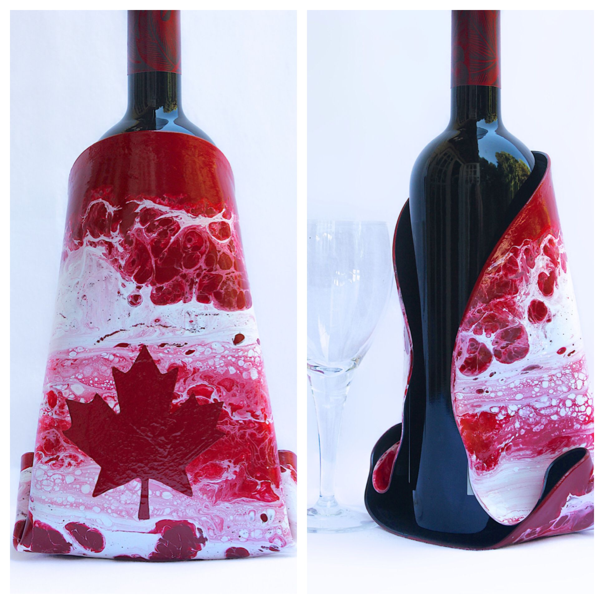 Abstract Canadian Wine Bottle Cover Hand Painted On A Vinyl Record Great Gift Idea For A Canadian Wine Lover Wine Bottle Covers Bottle Cover Bottle