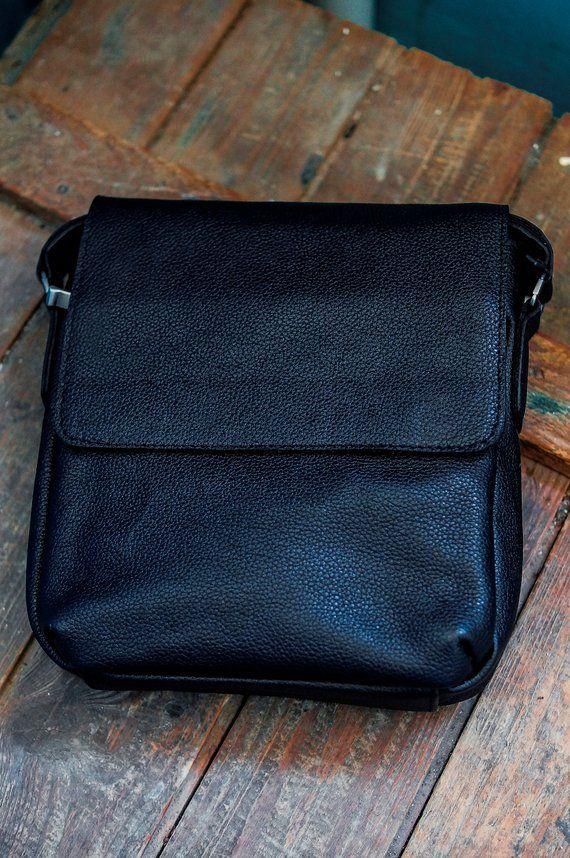 b55e5b8287 Black leather sling bag handmade cross body bag graduation gift for men  husband gift leather bag sho