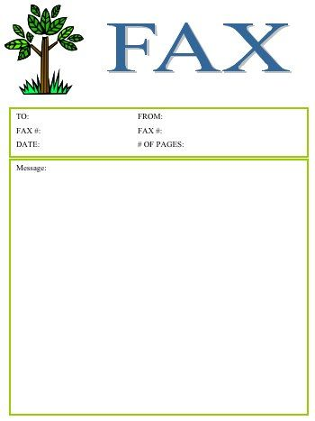 This fax cover sheet includes a cute image of a leafy tree Free - fax cover sheet download