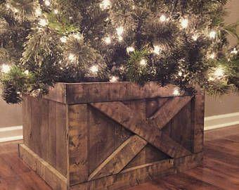 Folding Wood Christmas Tree Box Stand Wood Tree Skirt