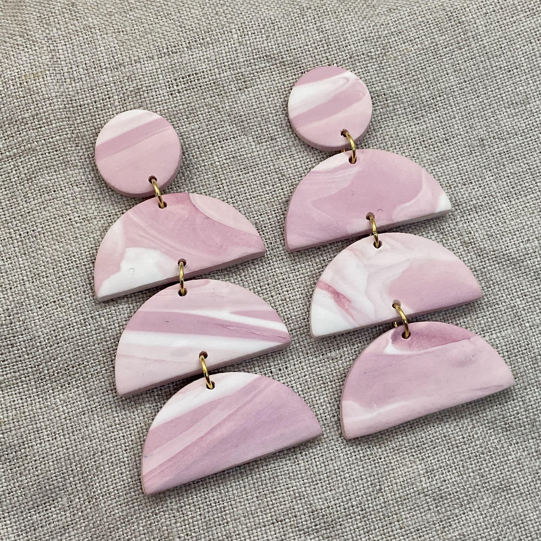 geometric statement Polymer clay earrings Pink marbled dangle earrings