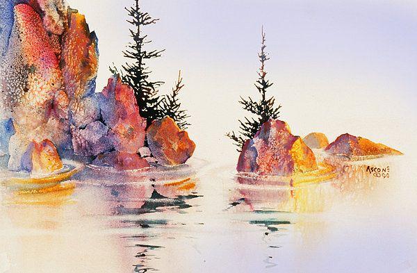 Waterline Watercolor Landscape Paintings Watercolor Water