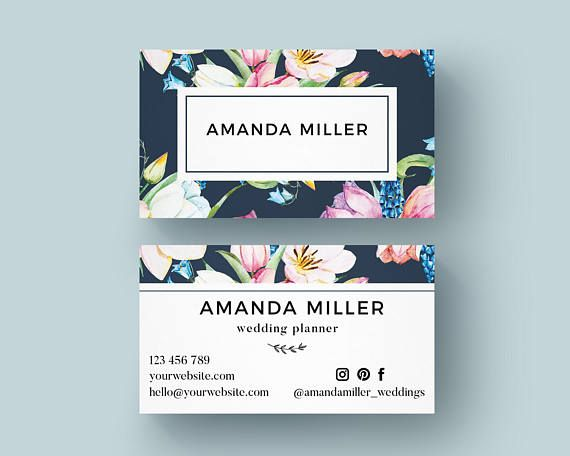 Business card template editable and printable feminine style with business card template editable and printable feminine style with floral elements card templates business cards and personal identity reheart Choice Image