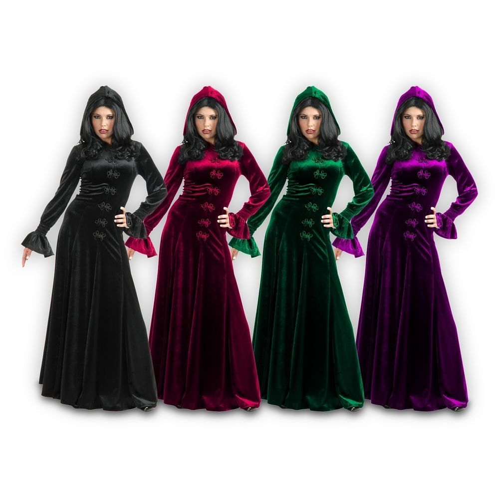 Vampire Costumes for Women Adult Velvet Robe Gothic Medieval Witch ...