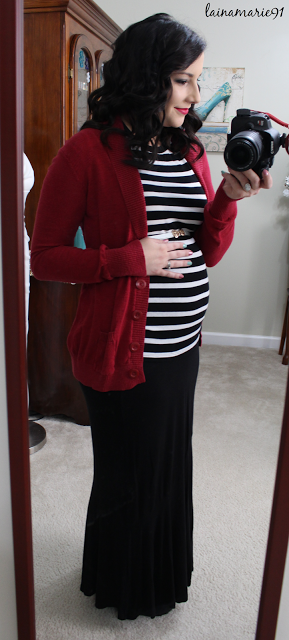 14 weeks pregnant maternity ootd fashion style clothing inspiration casual fall winter stripes red cardigan black maxi skirt