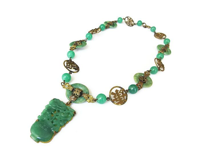 Art Deco Jade Czech Glass Necklace Chinese Symbol Chinoserie
