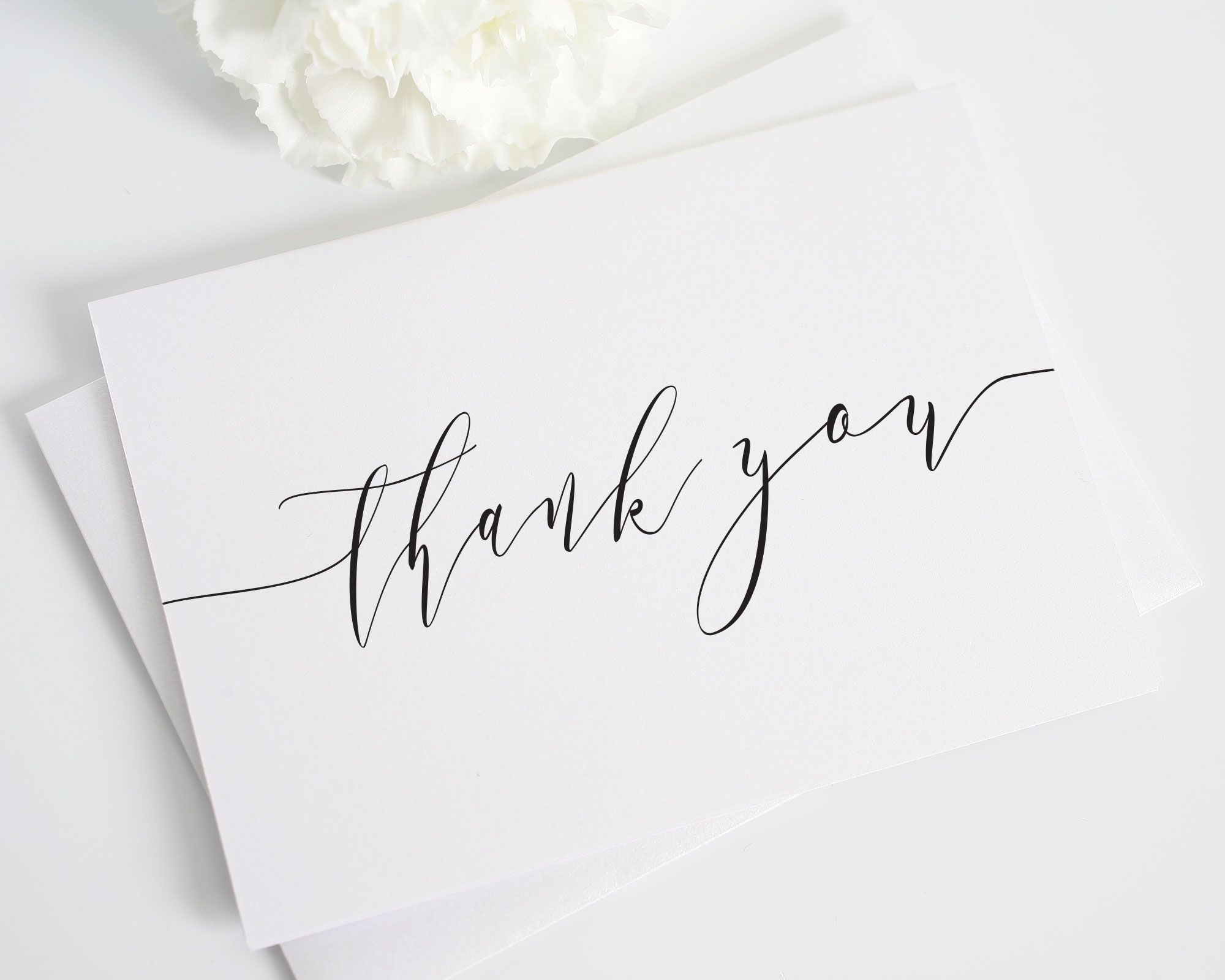 Romantic calligraphy thank you cards