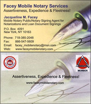 Facey ny notary signing agent business card notory for Examples of notary public business cards