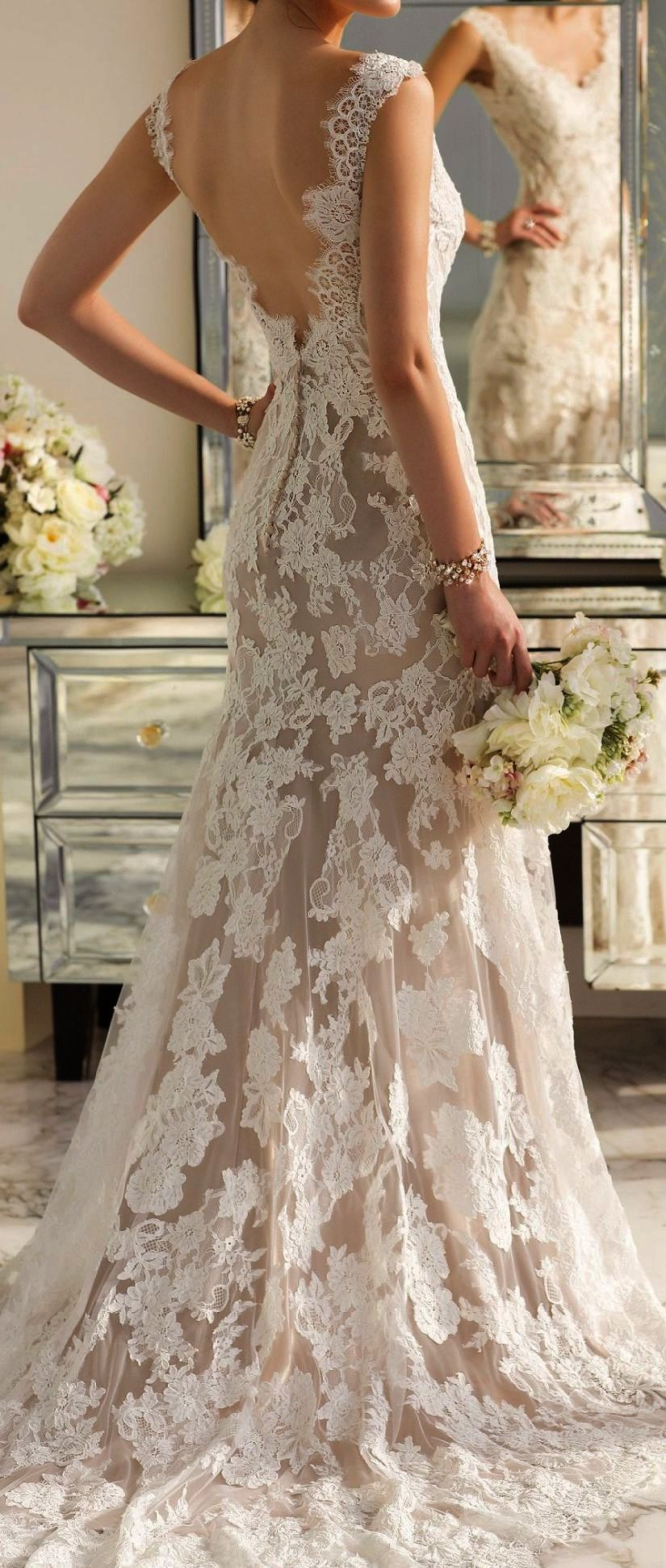 Lace mermaid wedding gowns with long trains  Outstanding  Lace Mermaid Wedding Dresses With Long Train   Lace