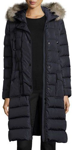 c46a2e917 Moncler Khloe Quilted Puffer Coat w/Fur Hood, Navy   ➸➸ Fashion ...