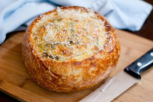 kale & bacon omelet baked in a bread boule