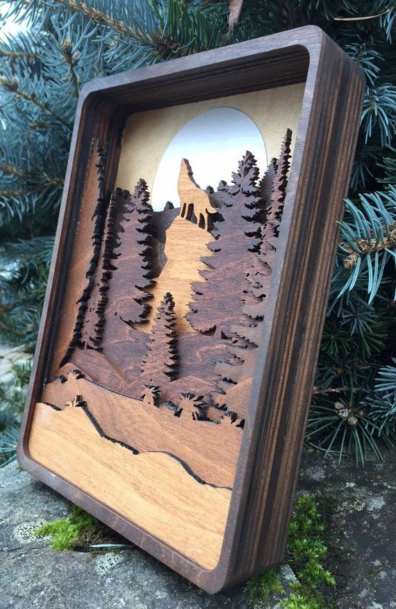 3D Laser Cut Shadow Box Howling Wolf and Moon Wood Scene Inlaid / Pacific Northwest / Wolf / Trees / Moon / Handcrafted / Mountains #autumncrafts