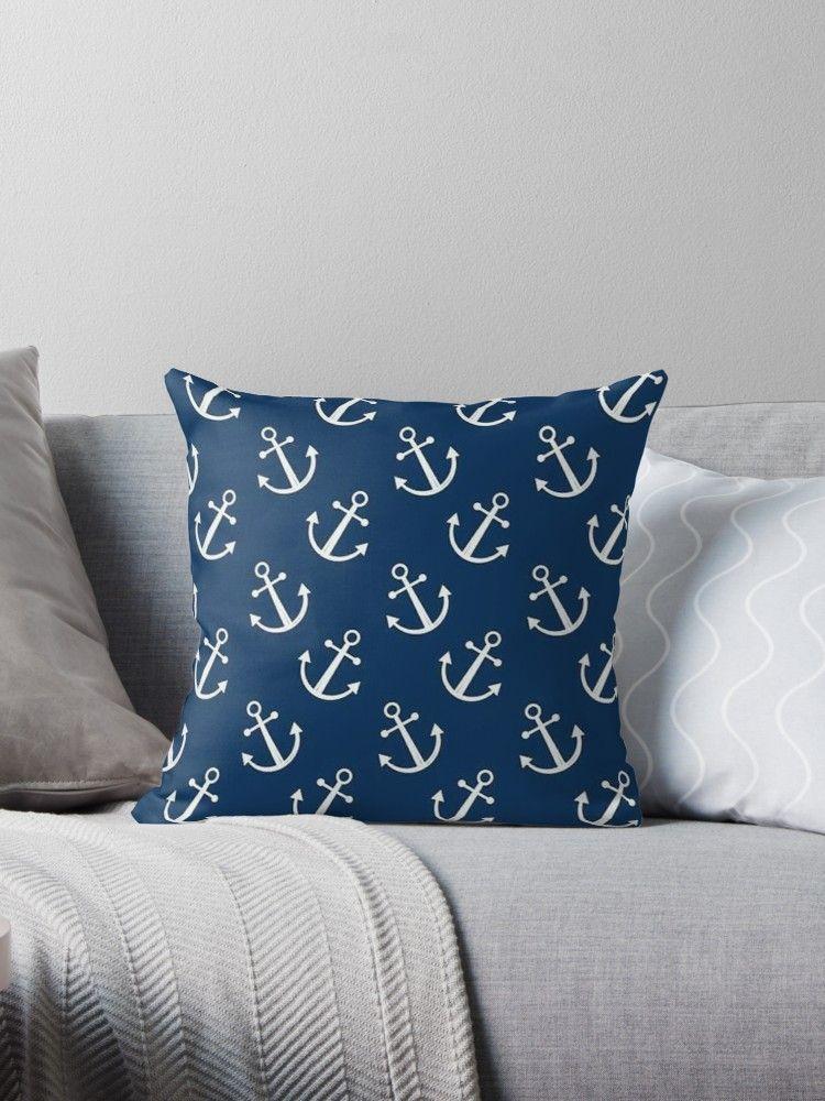 Anchor Pattern - Sailor Print Design  Throw Pillow by Bithys Online ... 6e1916aaf