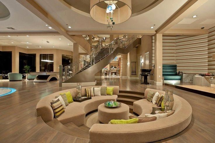 Interior Outstanding Cool Rooms In Houses In Luxury Living Room Lounge Feats Stunning Round Sofa Sectional And Drop Dead House Sunken Living Room House Design
