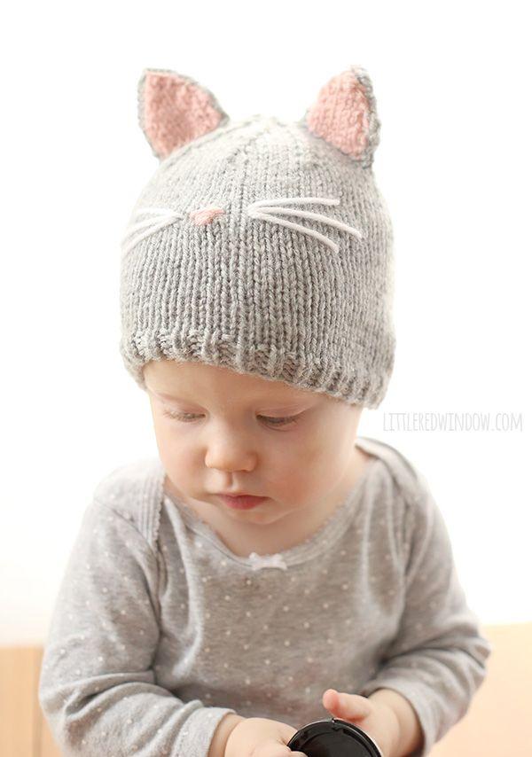 Pretty Kitty Cat Hat Knitting Pattern | Knitting patterns, Kitty and Cat
