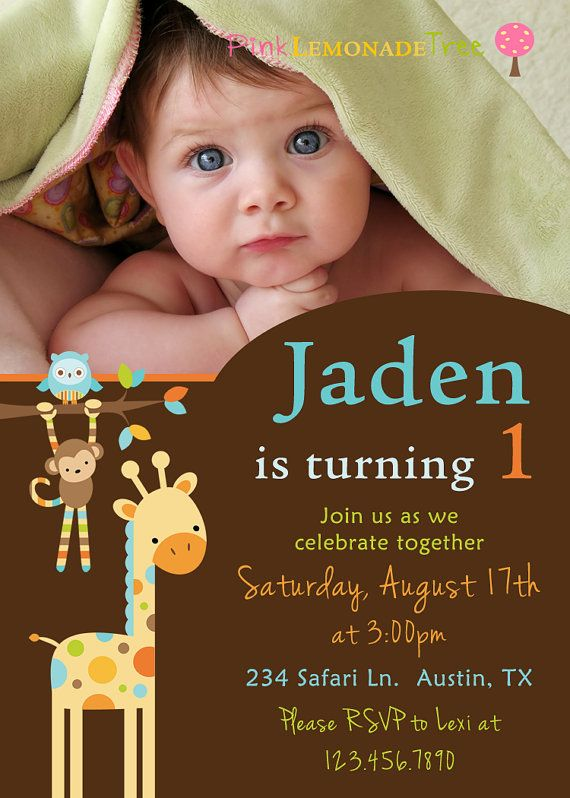 Jungle Animal Birthday Party Invitation With Photo Monkey Giraffe Owl Boy Girl 1200