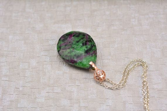 Ruby-in-Zoisite Pendant Necklace Ruby-Zoisite Pendant Boho Necklace Long Necklace Sterling Silver Necklace Healing Gemstones