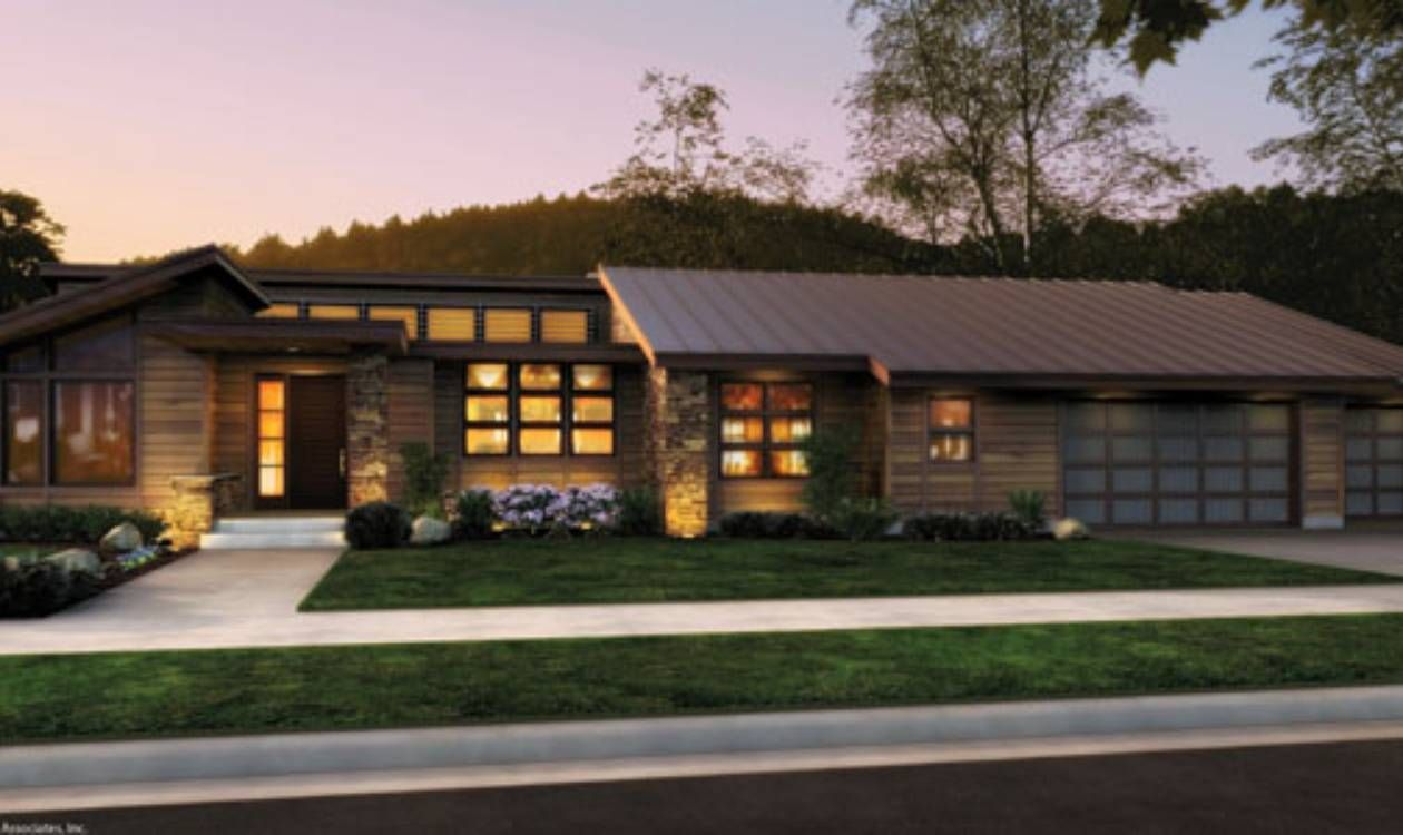 Front rendering rambler would have to add a finished for Modern raised ranch house plans