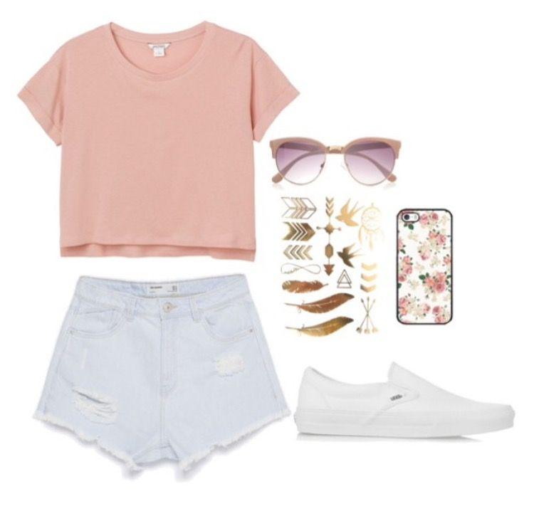 a931f630580 Pink crop top , light blue shorts , white vans | #ootd | Fashion ...
